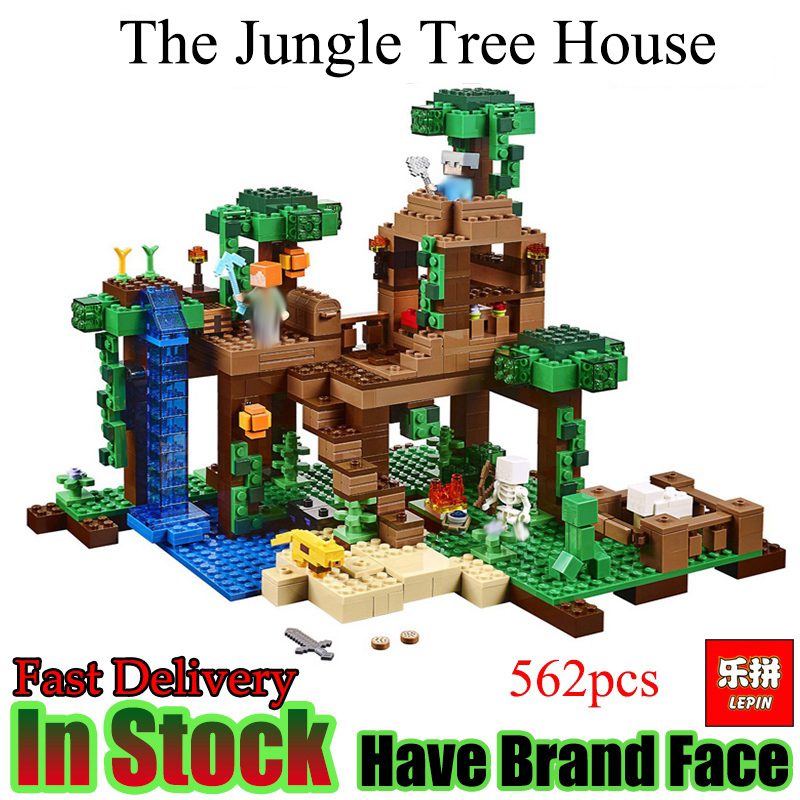 LEPIN Minecrafted 562Pcs The Jungle Tree House My World Model Building Blocks Toys for children my world tree house brick scene series steve mini blocks model building blocks kit toys for children compatible 21125