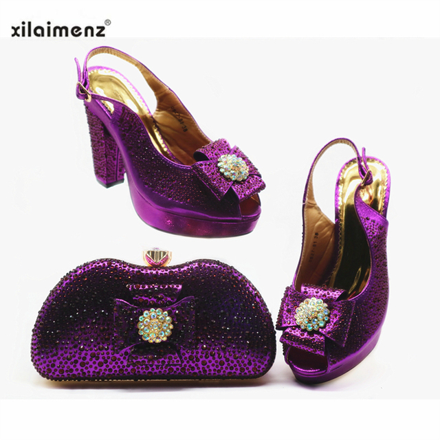 Super High Heels Italian Shoes With Matching Bags Set African Women's Party Shoes and Bag Sets in Purple Color for Royal Party