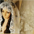 Hot-selling luxury veils for wedding beige lace bridal veil long wedding accessories
