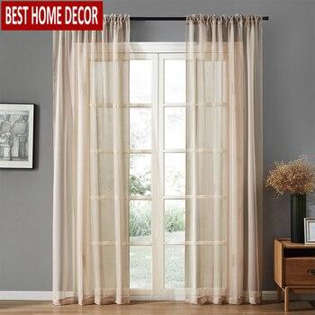 Ventana escarpada de tul cortinas para sala de estar dormitorio cortinas modernas de tul tela para cortinas de gasa de cocina BHD
