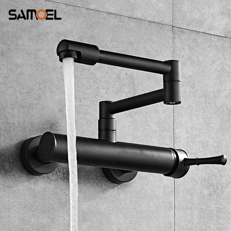 Newest Brass Black Wall Mounted Dual Hole Kitchen Sink Foldable Mixer Tap Rotating Cold Hot Water Faucets B3318