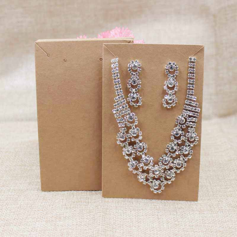 2017 Big New Kraft/black Paper Jewelry Set Package Card Necklace With Earring Display Card 200pcs Per Lot For Products Show Matching In Colour