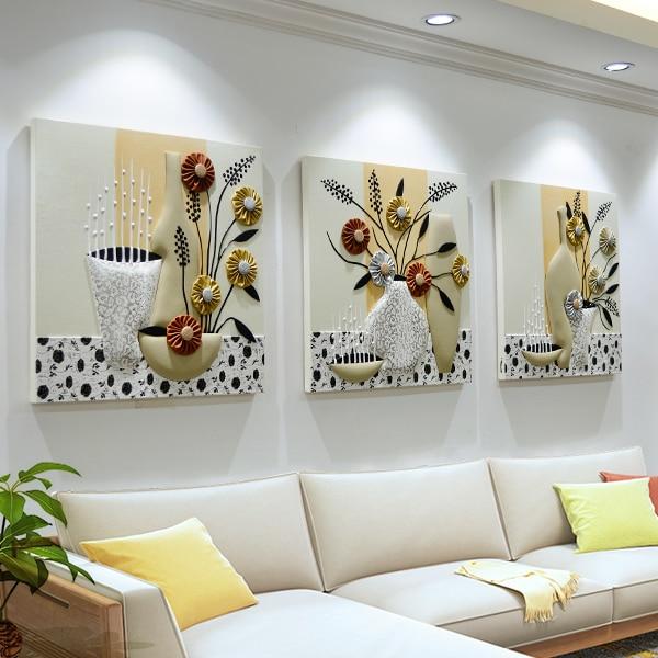 EWAYS 3Pcs/Set Background Wall Decoration 80 x 80 cm Living Room Bedroom Mural Restaurant Frameless Paintings 3D Painting