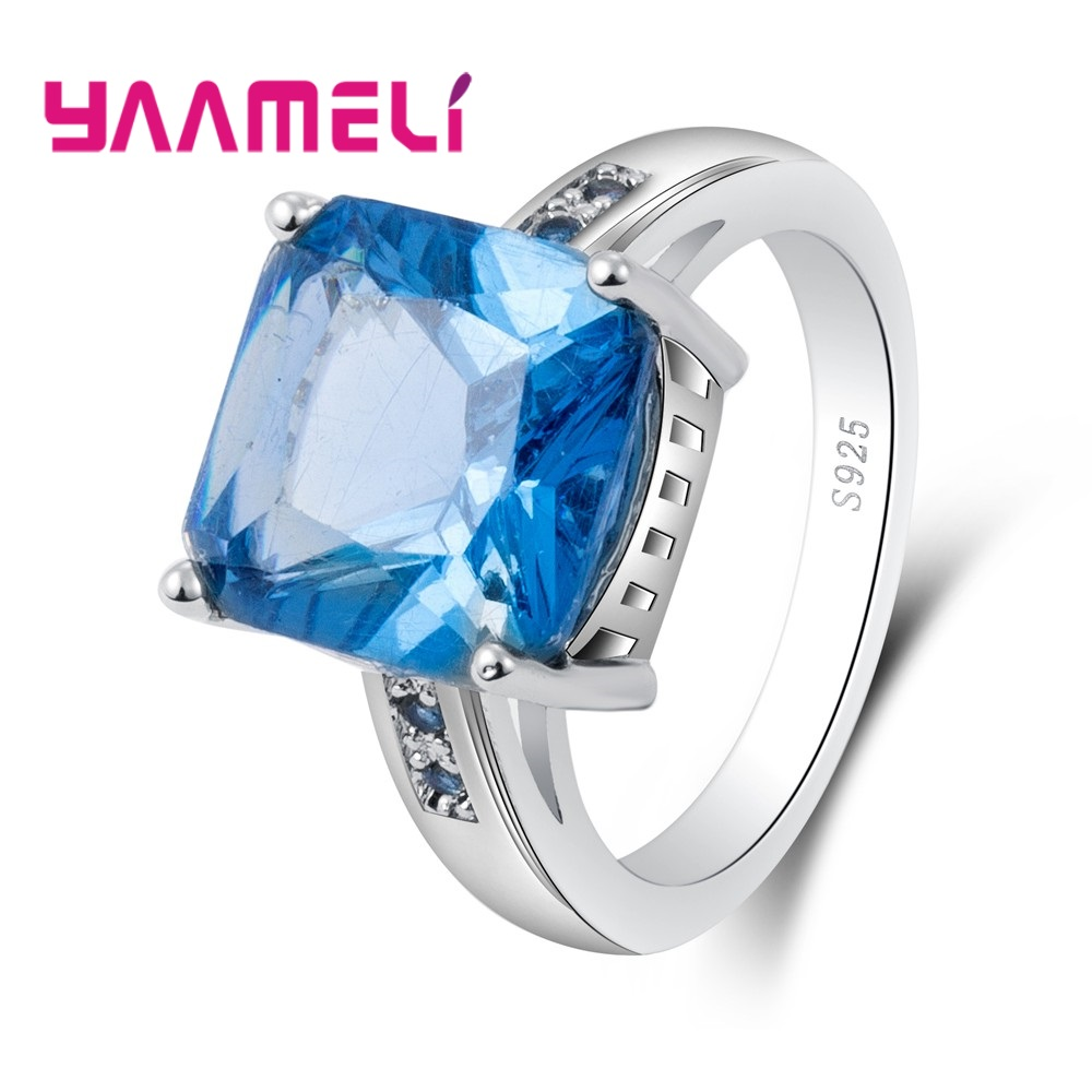 YAAMELI Big Sale Luxury Bridal Sky Blue Cut Square Cubic Engaged Rings 925 Sterling Silver