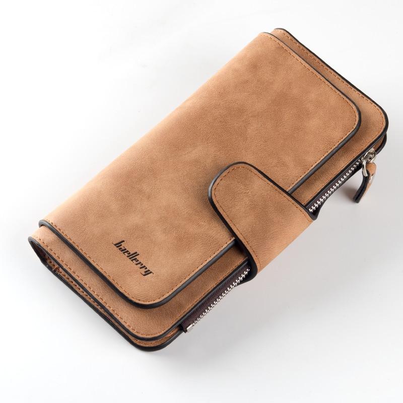 2018 New Fashion Women Wallets Drawstring Nubuck Leather Zipper Wallet Women's Long Design Purse Two Fold More Color Clutch