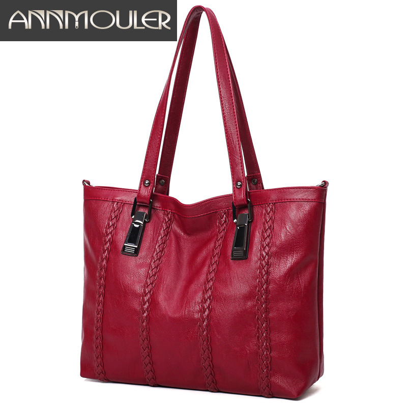 Annmouler Vintage Handbags Women Casual Tote Bags Large Capacity Leather Shoulder Bag Solid Color PU Leather Lady Messenger Bag canvas casual tote bag women solid zipper large capacity shoulder bags brand female lady handbags