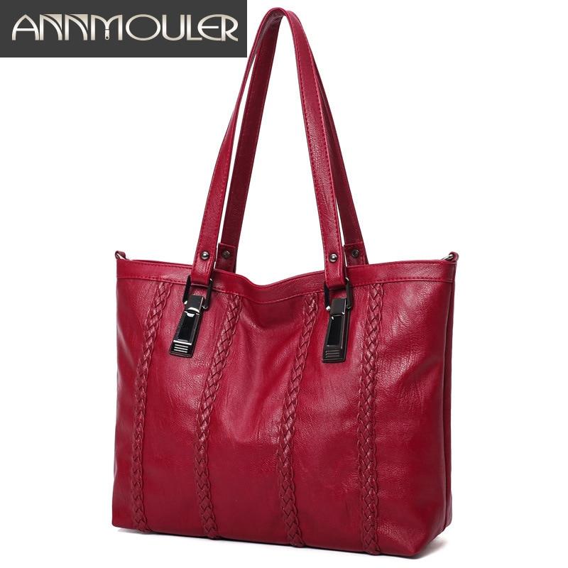 цены на Annmouler Vintage Handbags Women Casual Tote Bags Large Capacity Leather Shoulder Bag Solid Color PU Leather Lady Messenger Bag в интернет-магазинах