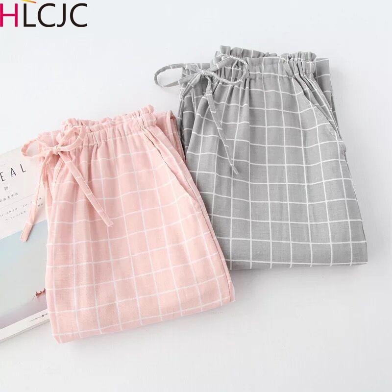 New Plaid Cotton Loose Ladies Pajama Pants Pyjama Trousers Women Men Sleep Bottoms Lounge Wear Sleep Pants Spring Summer