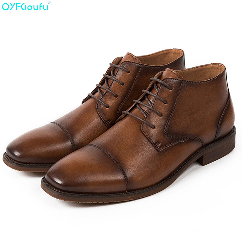 QYFCIOUFU 2019 New Men Chelsea Boots Genuine Leather Vintage Ankle Boots Lace up Fashion Casual High Quality Men Dress Boots in Work Safety Boots from Shoes