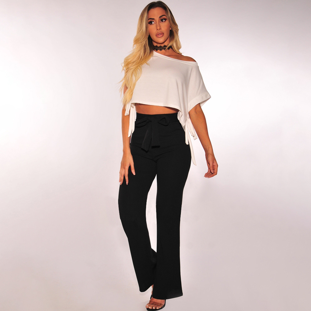 Self Belted Palazzo   Pants   Women Elegant Loose Long   Pants   2018 Fall Ginger High Waist   Wide     Leg     Pants   Spring Autumn All Matched