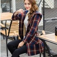 2018 Women coat winter long coats women plaid jacket female Blends woolen warm overcoat femininos ladies Clothing