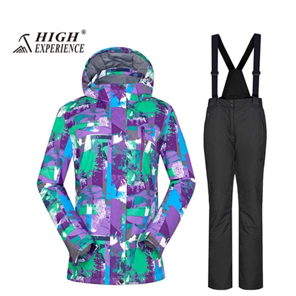 Nouveau 2018 wintersport ski de montagne costume pour femme ski costume femmes femme chaud snowboard vestes neige pantalon veste ski femme - 4
