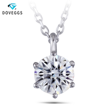 DovEggs Classic Solid 14K White Gold 1.5ct 7.5mm F Color Moissanite Diamond Pendant Necklaces For Women Solitaire Set