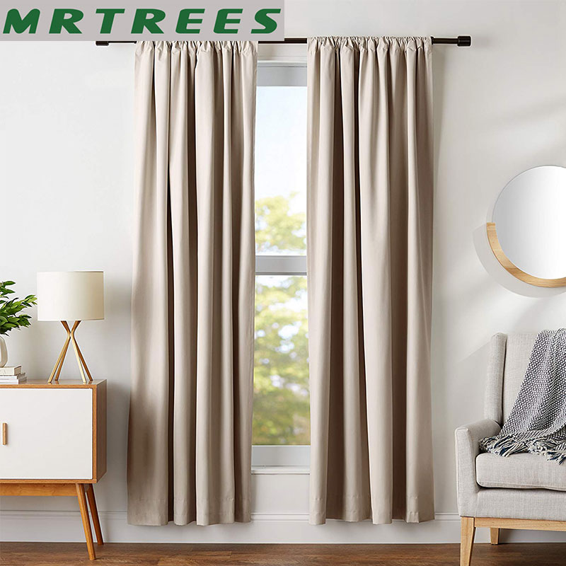 MRTREES Modern Blackout Curtains For Living Room Bedroom Window Treatment Blinds Solid Finished Window Blackout Curtains Panel