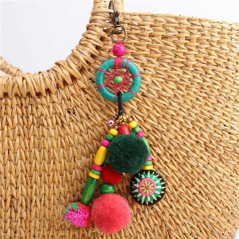 RE Boho joyería hecha a mano bolsa colgante borla Pom llavero pompón llaveros anillos Mujer dijes accesorios regalo S0530