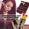 Top 99J Peruvian Virgin Hair With Closure Straight Burgundy Human Hair Weave With Closure Red Wine 3 Bundles With Closure 4x4