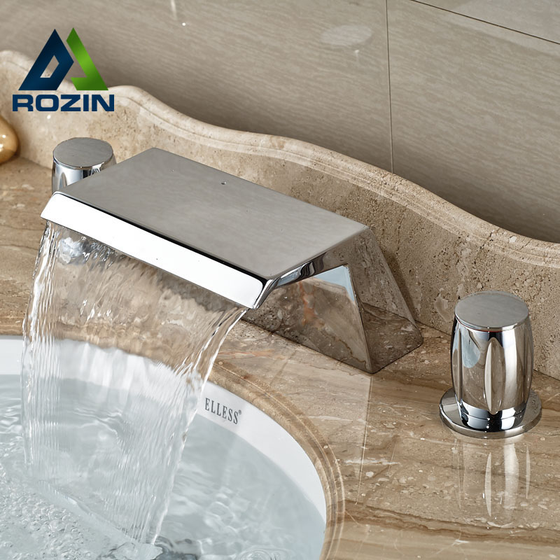 ФОТО Modern New Waterfall Spout Deck Mount Basin Faucet Widespread 3 Holes Hot and Cold Mixer Tap in Chrome