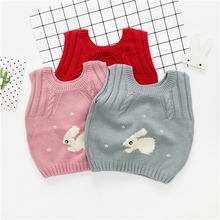 WYNNE GADIS Autumn Winter Baby Girls Cute Rabbit Sleeveless Vest O Neck Knitwear Sweater Waistcoat Kids Knitted Outerwear Coats