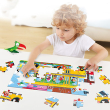 50 Pcs Children Cartoon Train Bus Story Puzzle Educational Toys Paper 3-6 Years Old Boys and Girls Gifts Fun