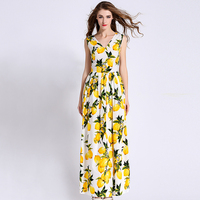 2016 American Women's Blooming Fruit Lemon Printed Double V Collar Sleeveless Dress All match Summer Plus Size Maxi Long Dress