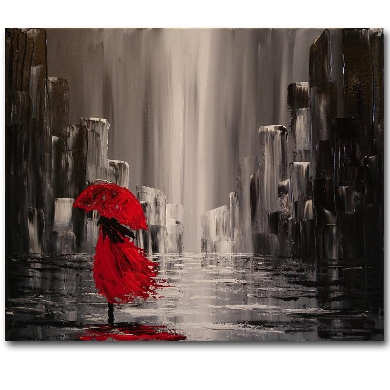 Pinturas De Fama Mundial Rojo Abstracto Mujer Pintura