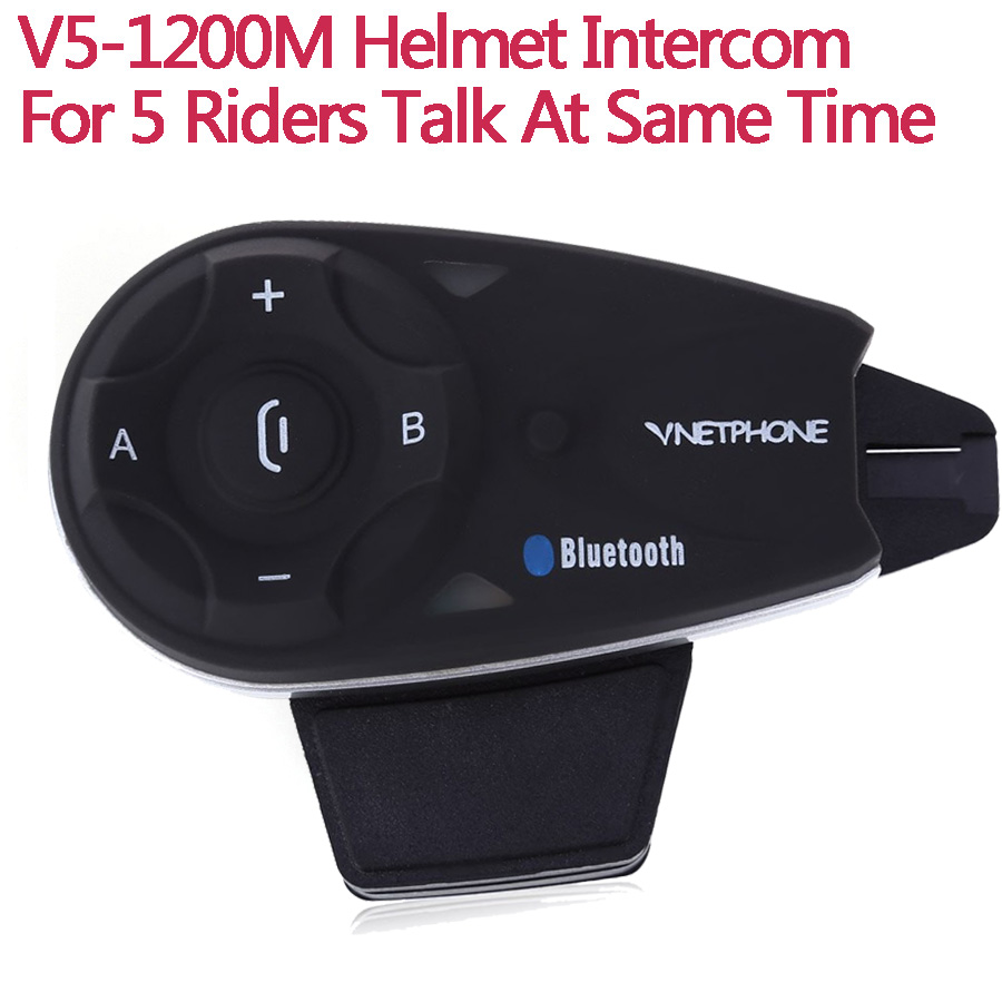 V5 5 Riders Motorcycle Helmet BT Intercom Bluetooth Headset Full Duplex Wireless Interphone Hands Free FM Earphone Communication 2016 newest bt s2 1000m motorcycle helmet bluetooth headset interphone intercom waterproof fm radio music headphones gps