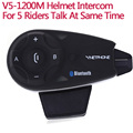 V5 5 Riders Motorcycle Helmet BT Intercom Bluetooth Headset Full Duplex Wireless Interphone Hands Free FM Earphone Communication