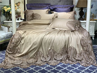 Solid Gold Blue Silky Egyptian Cotton Duvet Cover Set Full Queen King size 4Pcs Bedding Set with Wide Lace Luxury Wedding Gift