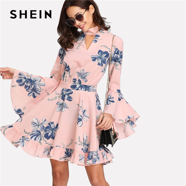 4d9ddc4012 SHEIN Choker Collar Flare Sleeve Dress Floral Print Stand Collar Long  Sleeve Elegant Dress Women Cut