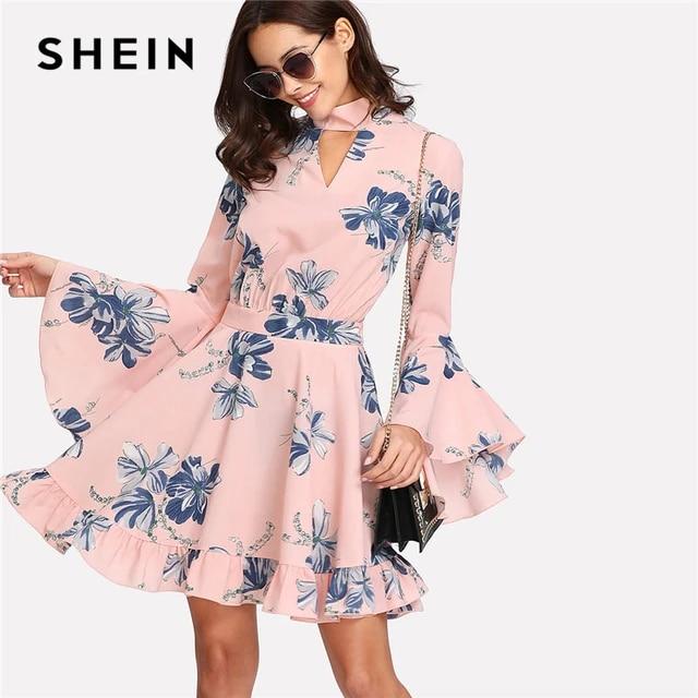Shein Choker Collar Flare Sleeve Dress Floral Print Stand Collar Long Sleeve Elegant Dress Women Cut Out Zipper Short Dress by She In