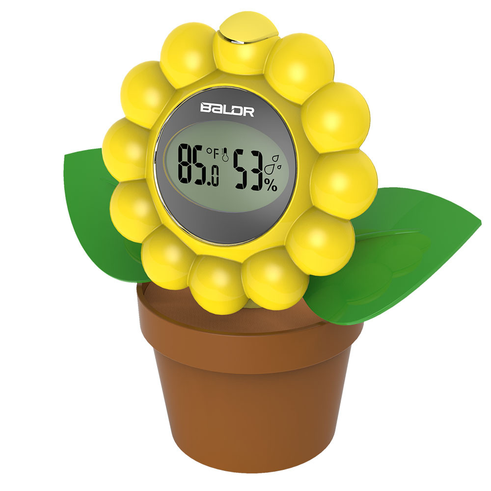 Decorative Baldr Digital thermometer hygrometer, indoor Flower Shape ...