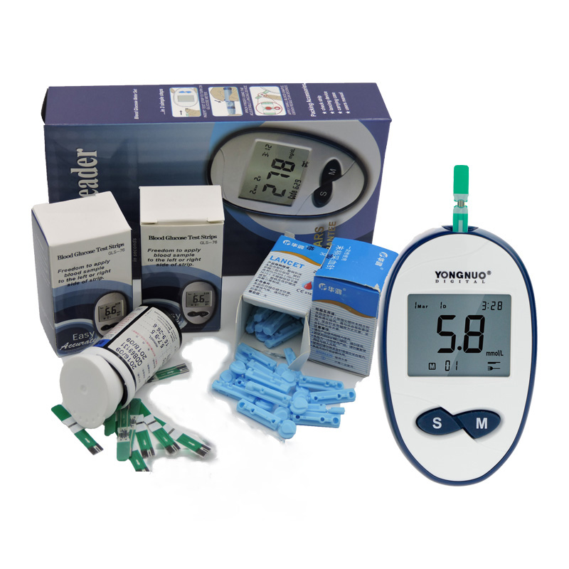 YongNuo Blood Glucose Smart Blood Sugar Monitor Meter For Diabetes With 100pcs Strips And 100pcs Lancest Needle Health Care Tool one time collector sterile phlebotomy collection needle 50 28g blood glucose injection security lock cassette
