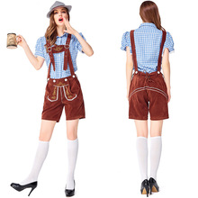 German traditional Blue and Brown Oktoberfest couple costumes European American bar overalls Alpine adult women