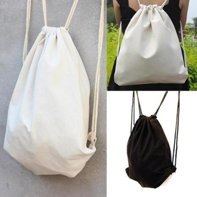Female Women S Canvas Bags Backpacks Drawstring Bag Sack Agers Schoolbag Ping For Solid