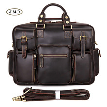 J.M.D Hot selling Fashion Style Genuine Leather Multi-Compartment Design Mens Briefcases Laptop Busniess Handbags 7028Q