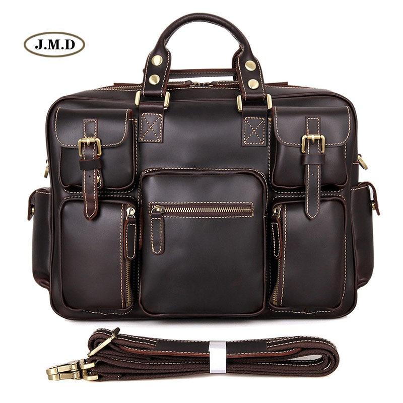 J.M.D Kuum müük Fashion Style Ehtne nahk Mitmekambriline disain Meeste moekotid Portatiivsed sülearvutid 7028Q