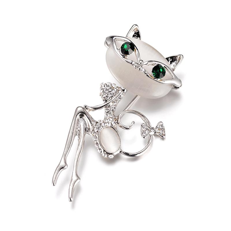 Супер милый котенок кошачий глаз камень брошь корейский Кристалл Воротник Кошка Личность платье модный стиль
