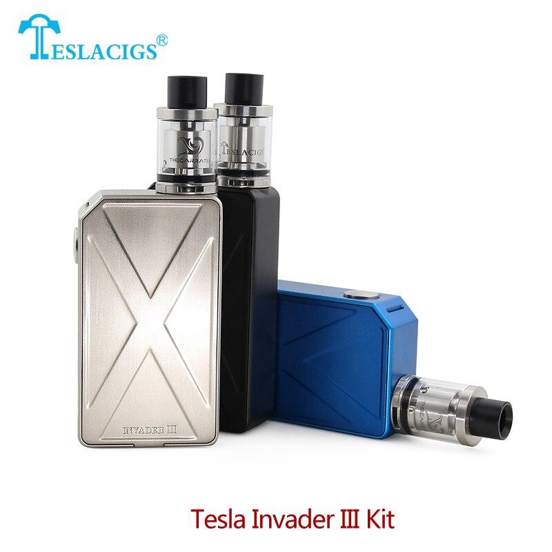 D'origine Tesla Envahisseur III Starter Kit 240 w Envahisseur 3 Boîte Mod avec 2 ml Carrate 22 RTA Vaporisateur Réservoir cigarette électronique Kit