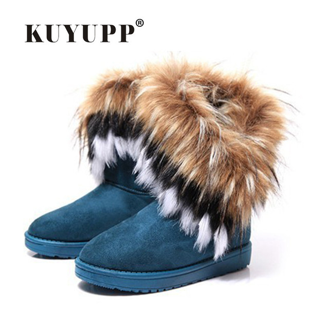 KUYUPP Fur Boots Winter Warm Ankle Boots For Women Snow Shoes Woman Round-toe Slip On Female Flock Snow Boot Ladies Shoes DX910 2