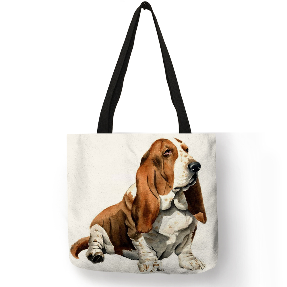 Customized Terrier Dog Art Eco Reusable Shopping Bag Linen Hand Bag For Women Traveling Beach Tote Bags tote bags for work