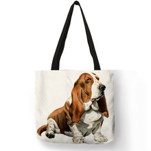 Customized Terrier Dog Art Eco Reusable Shopping Bag Linen Hand Bag For Women Traveling Beach Tote Bags(China)