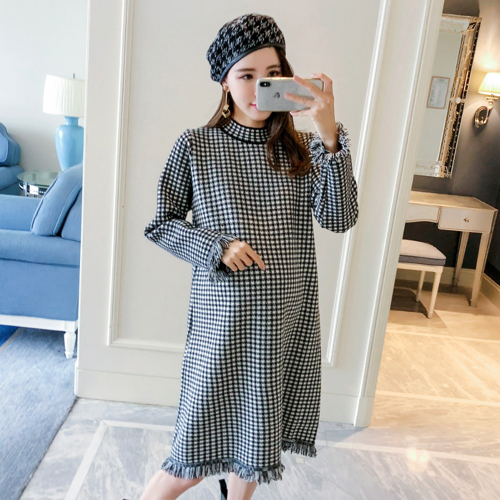 Pregnant women autumn dress 2018 fashion new long-sleeved loose skirt plaid temperament maternity dress dabuwawa autumn women fashion sexy plaid skirt elegant mini pleated skirt short streetwear asymmetrical skirt d17csk031