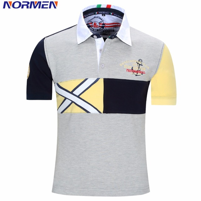 NORMEN Brand Clothing Men's Polo Shirts Patchwork Fashion Shirt For Men Short Sleeve Top Grade Cotton Polo Men Drop Shipping