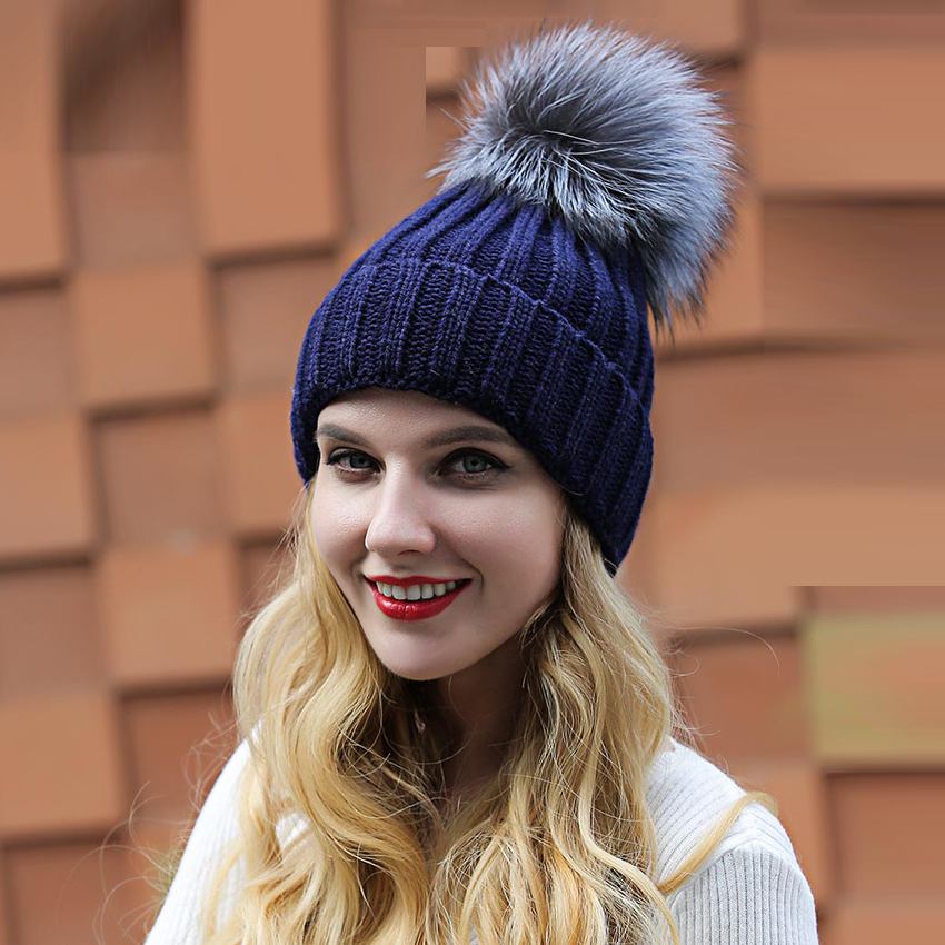 1f69a3467 Women's winter hat fashionable Acrylic knitted hats with fox fur pom pom  good quality bonnet femme real fur hat for the winter