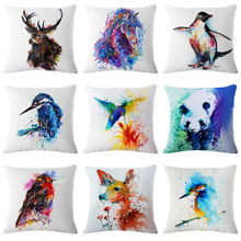 2018 Pillow cover animals Colorful Galloping dog panda Bird Linen Cotton Pillowcases Home Decorative Cushion Cover for Sofa Car