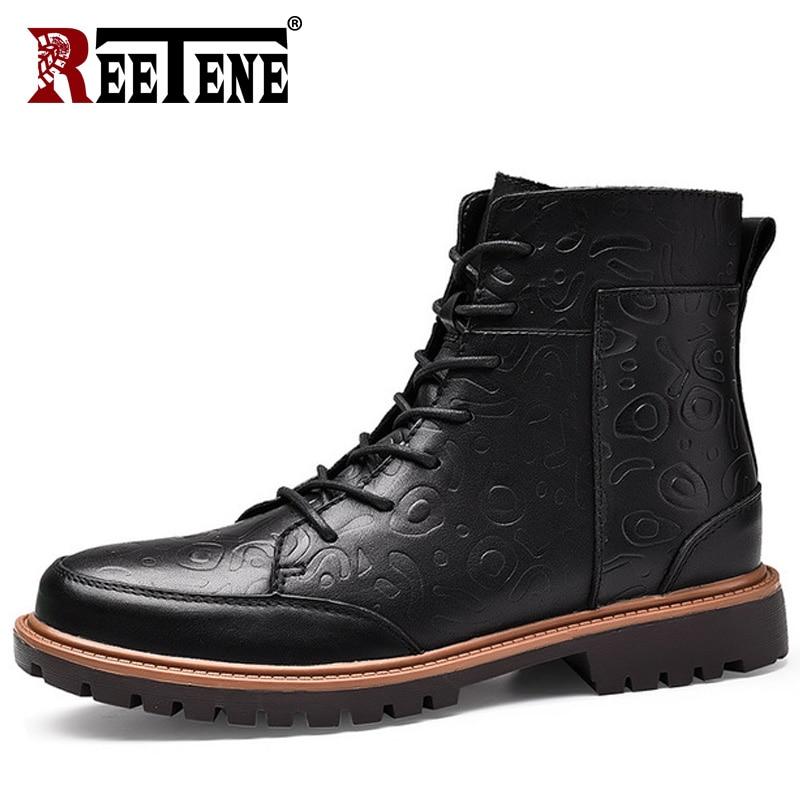 Alta Reetene Inverno Da Size Botas Black Retro Vintage De Ankle Qualidade Homens 38 Couro Dos Boots 47 Super Genuína Neve Plus brown Do Quente vfrvw4