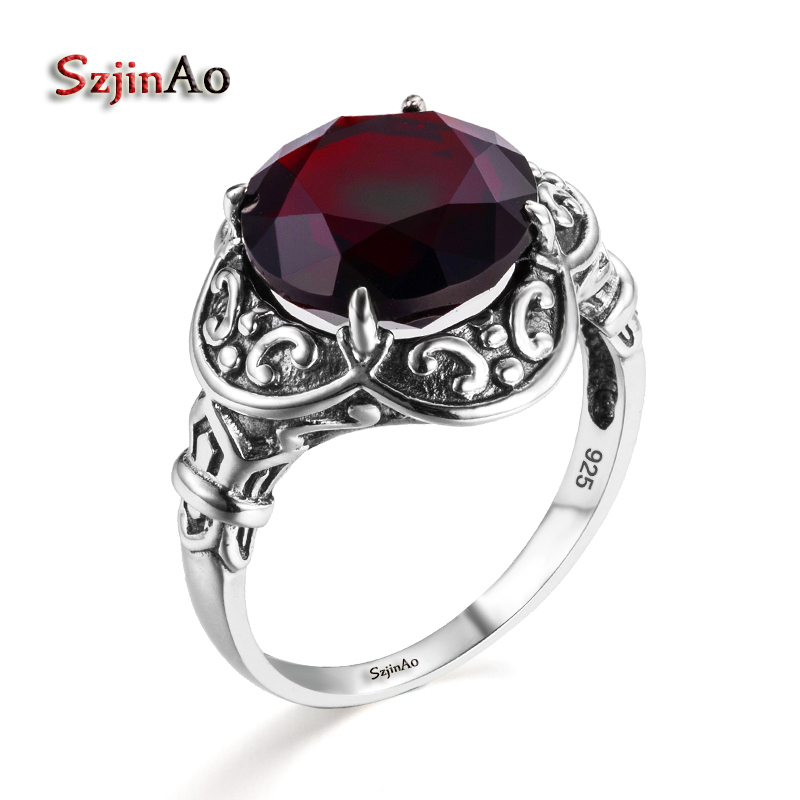 Szjinao Byzantine Style Female Ring Garnet 925 Sterling Silver Engagement Wedding Band Ring For Women Medieval Pattern