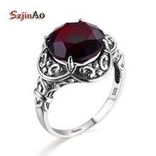 Szjinao bizantyjski styl kobiet pierścień granat 925 srebro obrączka pierścionek zaręczynowy dla kobiet średniowieczny wzór