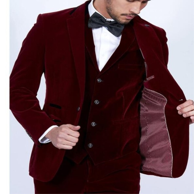 Wine-Red-Velvet-Men-Suits-3Pieces-Jacket-Pant-Vest-Tuxedos-Fashion-Custome-Homme-Terno-Slim-Fit