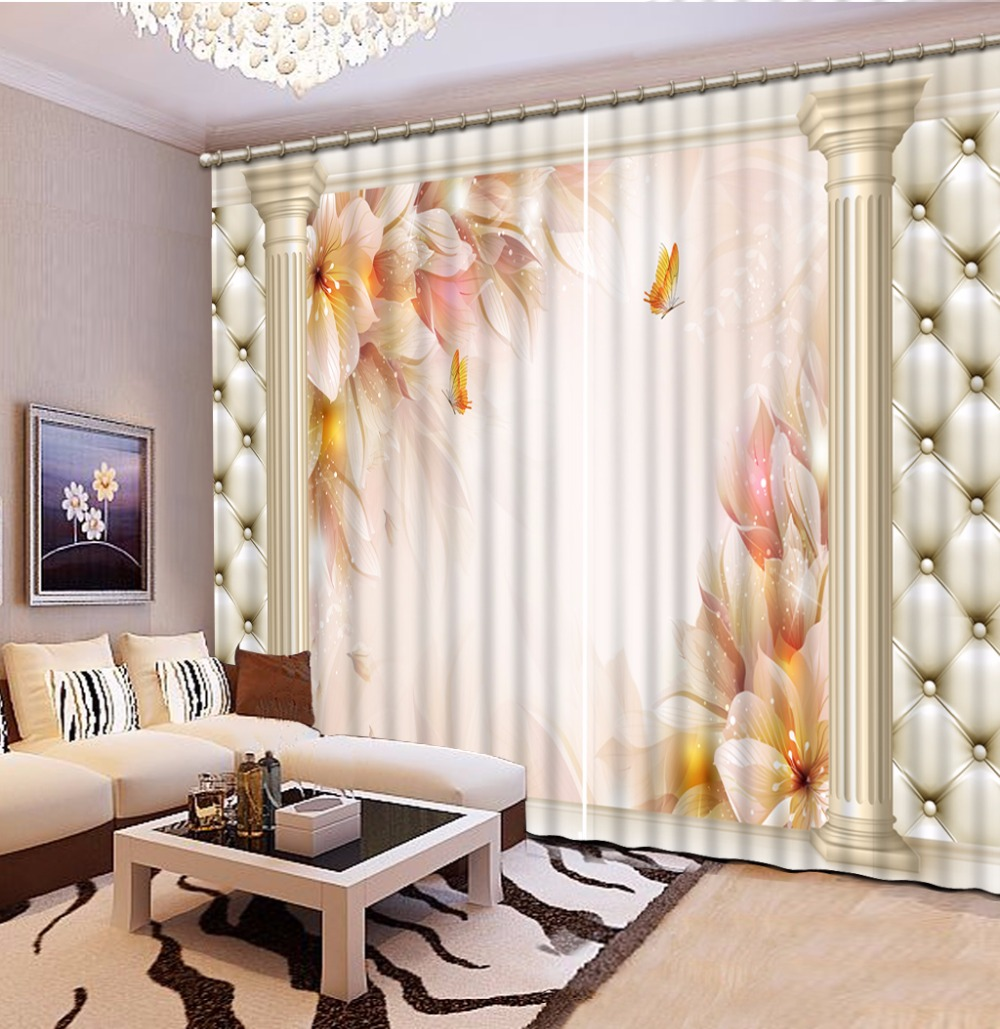 European Roman Curtains Custom Flower Window Curtains
